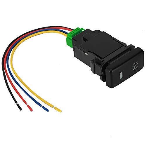 Interruptor de botón para coche, plástico de PVC, negro, 12 V, interruptor de botón de 4 polos con luz indicadora de fondo LED, interruptor de botón para coche