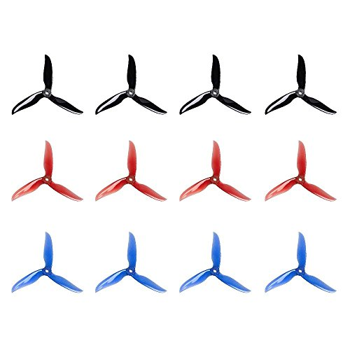 12 Piezas 5040 5 Pulgadas 3 Cuchillas CW CCW Tri-Blade Propeller, T5040C Prop Best Stuiable para 200 210 220 230 250 FPV Racing Drone Quadcopter Frame Kit (Negro, Rojo, Azul)