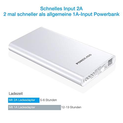 Poweradd Pilot 2GS Powerbank 10000mAh mit Alugehäuse und Automatische Erkennung Techologie für Ladung des Smartphones - 3