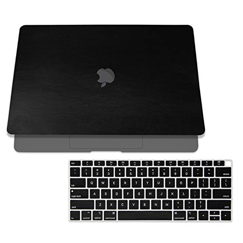 SOJITEK Black Leather Texture Skin Decal Cover for 2018 MacBook Air 13 Inch A1932 Model with Touch ID & Includes Black Keyboard Cover Case