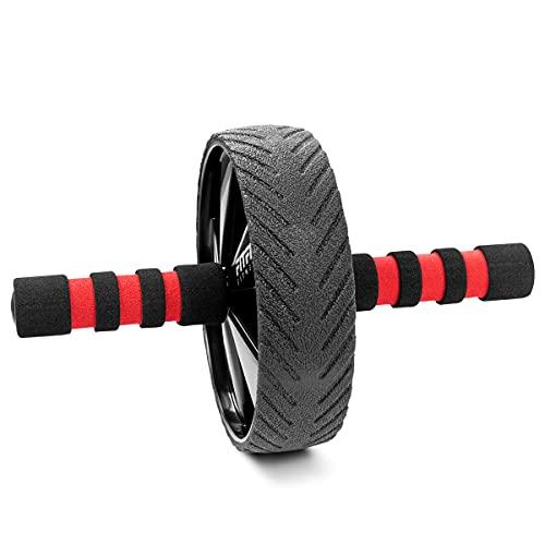 FITFIU Fitness ABWHEEL-180 – Rueda abdominal de 18cm de diámetro para rutinas fitness en casa y trabajo del tronco superior, Rodillo abdominal estable para rutinas de fuerza y musculación