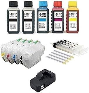Hervulbare cartridges zoals LC-3217, LC-3219 XL zwart, cyaan, magenta, geel met resetbare chips + USB-chipresetter + 4 x 1...