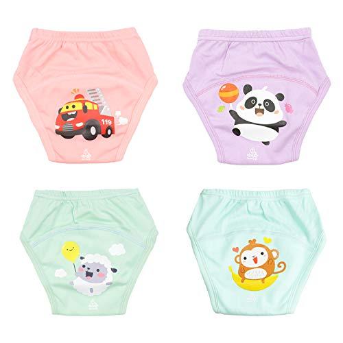Baby Potty Training Pants Ropa Interior de Entrenamiento para niños Fuerte Entrenamiento Absorbente para Ropa Interior de bebé Pantalones de Entrenamiento Reutilizables 4 Paquetes 4T/4 años/110