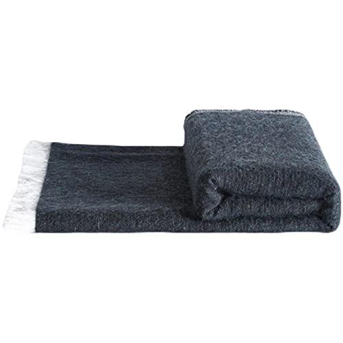 TENGTUD Manta de sofá, una Manta Negra de Mezcla de Lana Suave Que se Puede Usar para Cubrir Mantas / Mantas de Aire Acondicionado / Mantas de sofá / Mantas de Cama-Los 70x235cm