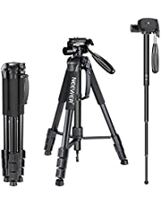 Neewer Portable 177cm Aluminum Alloy Camera Tripod Monopod with 3 Way Swivel Head for DSLR Camera Black
