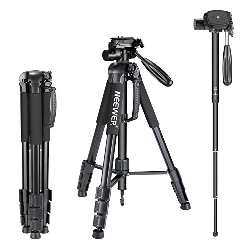 Neewer Portable Aluminum Alloy Camera 2-in-1 Tripod Monopod Max. 70'/177 cm with 3-Way Swivel Pan Head and Carrying Bag for DSLR,DV Video Camcorder