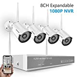 [Strong Signal Version] Wireless Security Camera System,SAFEVANT 8CH 1080P HD WiFi NVR with 4pcs 1.3MP Indoor Outdoor Weatherproof Bullet IP Cameras, P2P, Customizable Motion Detection, NO Hard Drive
