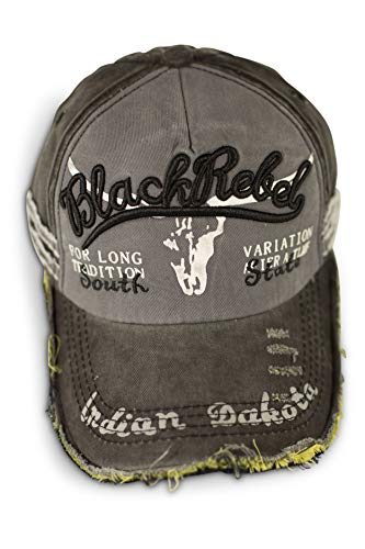 fashionchimp ® Baseballcap im Vintage Used-Look aus Baumwolle, Trucker, Unisex Jeans Denim Cap (Rebel - Grau)