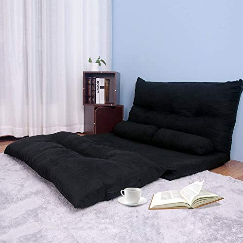 Floor Sofa Bed Sleeper Sofa Couch Futon Sofa Bed Couches 5-Position Sofa Lazy Sofa with Two Pillows (Black)