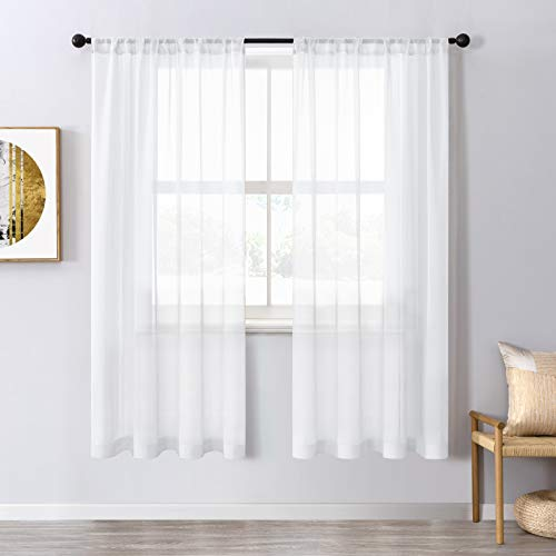 CUTEWIND White Sheer Curtains Rod Pocket 72 inch Length Large Window Voile Curtains for Living Room Basement Transparent Drapes Window Treatment, 37 x 72 Inch, Set of 2 Panels