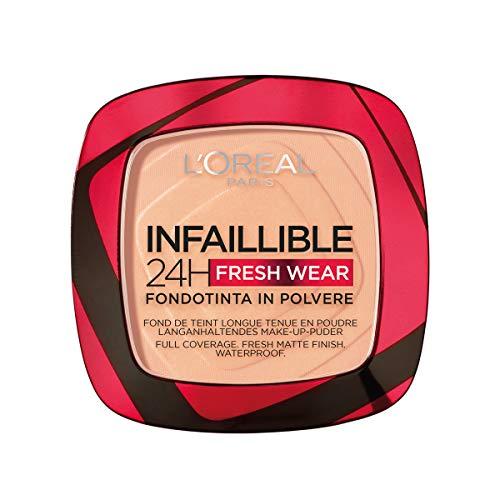 L'Oréal Paris Infaillible 24H Fresh Wear Make-Up-Puder 245 Golden Honey, langanhaltendes & mattierendes Make-Up-Puder, wasserfest, schweißfest, bis zu 24H Halt