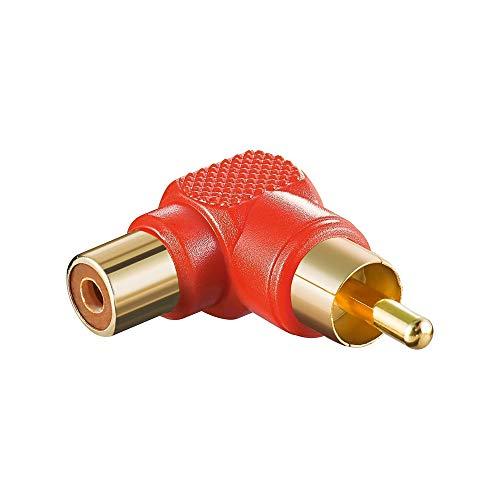 Adapter rot Cinch Stecker auf Kupplung - abgewinkelt