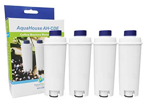 AquaHouse AH-CDE - Set di 4 filtri di ricambio compatibili per cartucce filtro dell'acqua DeLonghi DLSC002, SER3017, 5513292811 per macchina da caffè