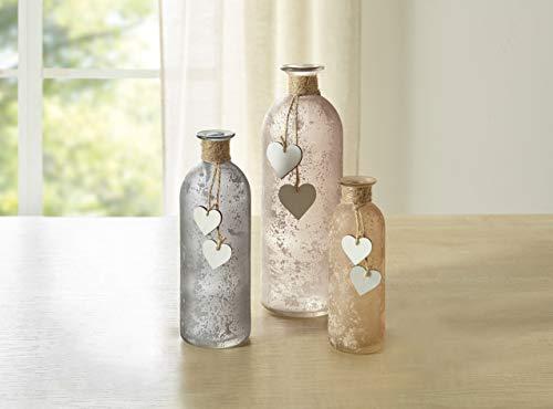 Dekoleidenschaft 3er Set Vasen Flasche mit Holz Herz, aus Glas, satiniert, Tischvase, Blumenvase