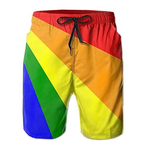 Sunny R Bandera LGBT Pride Rainbow Uomo Stampato Nuotare Trunks Fare Surf Asciugatura Veloce Spiaggia Pantaloncini con Tasche L