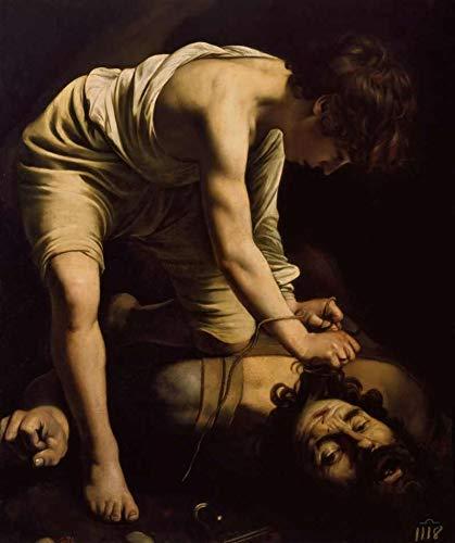 Davi Vitorioso Sobre Golias de Caravaggio - 60x71 - Tela Canvas Para Quadro