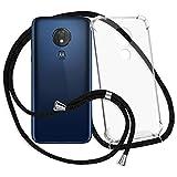 mtb more energy® Handykette kompatibel mit Motorola Moto G7 Power (6.2'') - schwarz - Smartphone Hülle zum Umhängen - Anti Shock Strong TPU Hülle