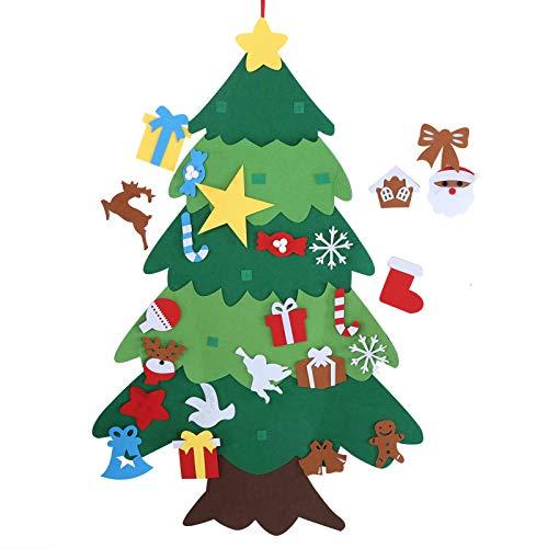 Fieltro del árbol De Navidad, Colorido Práctico Hermoso De La Decoración De La Navidad para Los Juguetes De Los Niños(Árbol de Navidad de Hojas de 5 Capas (con Luces))