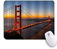 MISCERY マウスパッド 日没時のゴールデンゲートブリッジアメリカサンフランシスコランドマークパノラマ写真アート 高級感 おしゃれ 防水 端ステッチ 耐久性が良い 滑らかな表面 滑り止めゴム底 24cmx20cm