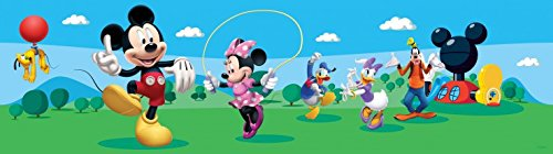 1art1 Mickey Mouse - Mickey Minnie, Pluto, Goofy, Donald and Daisy Duck, Disney Fotomural Cenefa Adhesiva (500 x 10cm)