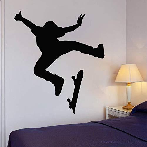 Skate Wall Art Stickers Skateboard Wall Decal Kids Room Decoración extraíble para el hogar Pegatinas de pared impermeables A8 57x65cm