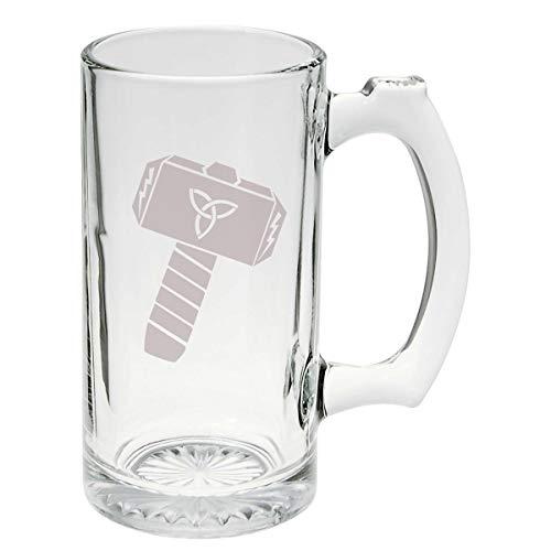 Thor's Hammer Norse Mythology Glass Stein Mug 16 ounce