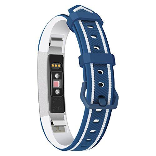 Leotop - Cinturino di ricambio per Fitbit Ace per bambini, con stampa floreale, in silicone, con fibbia in acciaio inox, compatibile con Fitbit Ace/Alta HR, per ragazzo e donne, Blu e bianco.