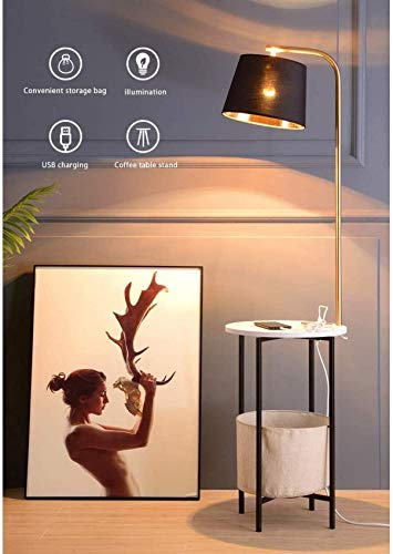 N/Z Home Equipment Modern Nightstand LED Floor Lamp Combination End Table Floor Light with USB Port Attached and Wireless Charging Living Room Sofa Office Bedside Table Lamp (Color : White)