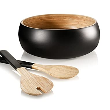 Francois et Mimi 3 Piece Bamboo Salad Bowl Set with Utensils, 11  Diameter (Black)