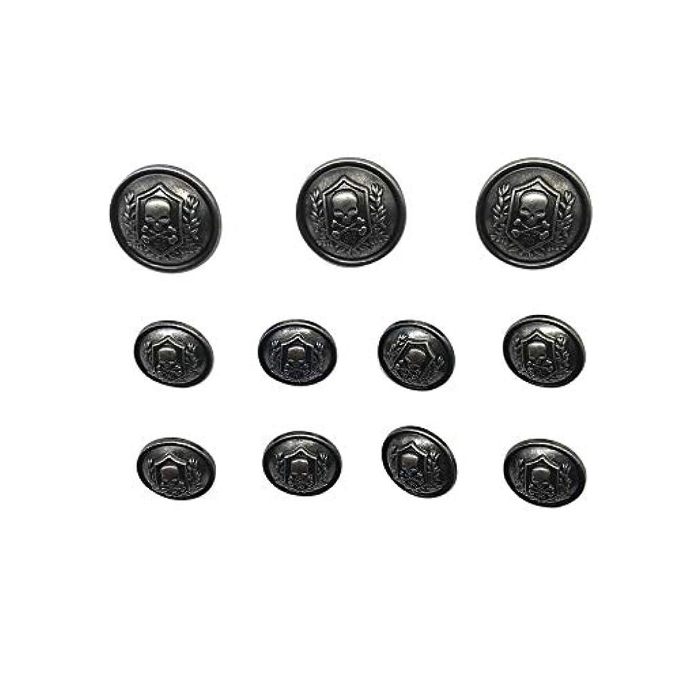 11 Pieces Silver Vintage Metal Blazer Button Set - Skull - for Blazer, Suits, Sport Coat, Uniform, Jacket (Silver),Q1623