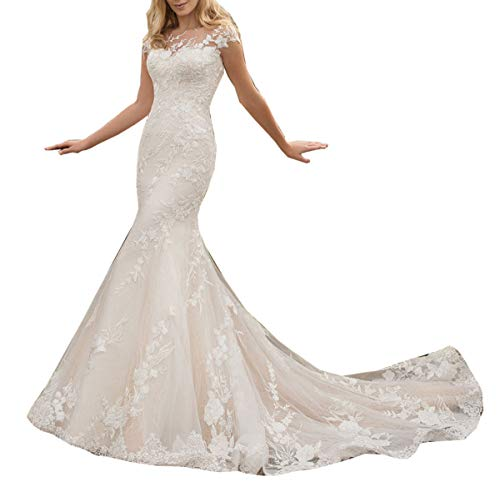 Solandia Plus Size Illusion Bridal Gowns Lace Mermaid Beach Wedding Dresses for Women with Train Long Ivory