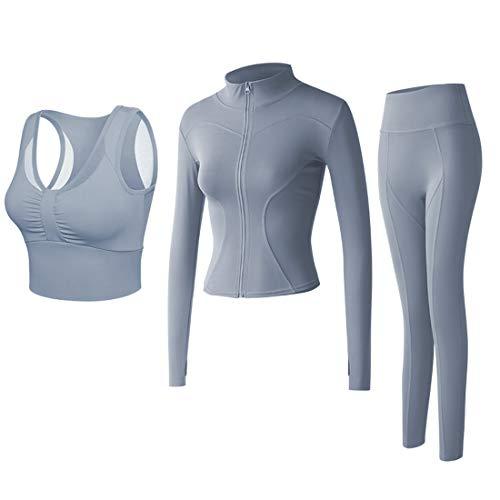 Conjunto Yoga 3 Piezas Ropa Fitness Entrenamiento, Top Pantalones y Chaqueta de Yoga Súper Elásticos. Leggings+Bralette para Mujer+Chaqueta de Manga Larga Mujer (Azul Claro, M)