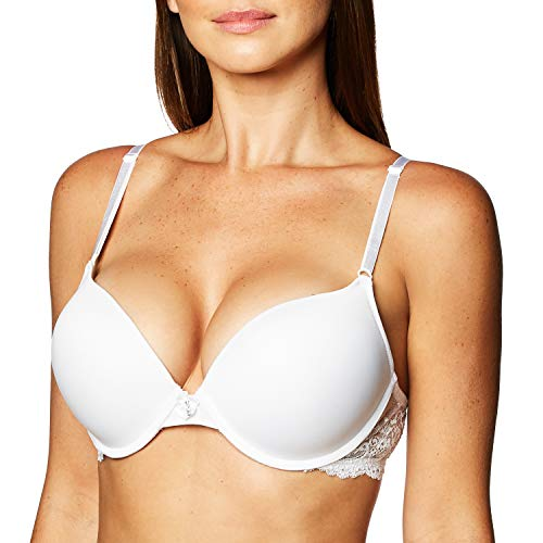 Smart & Sexy womens Maximum Cleavage Underwire Push Up Bra, White With Lace Wings, 34B US