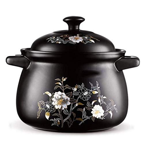 Cacerola de cerámica holandesa horno olla de sopa de salud para el hogar, cacerola de alta temperatura, transferencia rápida de calor (tamaño : L)
