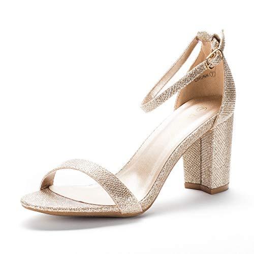 DREAM PAIRS Women's Chunk Gold Glitter Low Heel Pump Sandals - 7.5 M US