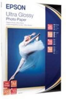 Epson Ultra Glossy Photo Paper, DIN A4, 300 g/m², 15 hojas - Papel fotográfico (DIN A4, 300 g/m², 15 hojas, 300 g/m², 106 x 156 x 10 mm, 420 g, 15 hojas, A4)