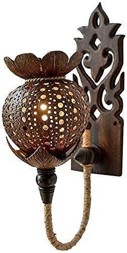 Zuidoost-Azië Massief Houten Wandlamp Creatieve Kokosnoot Opengewerkte Gesneden Henneptouw Wandlamp E27 Art Deco Verlichting Wandkandelaar Voor Restaurant Gang Gangpad Trap (Afmeting: 1 Stuks)