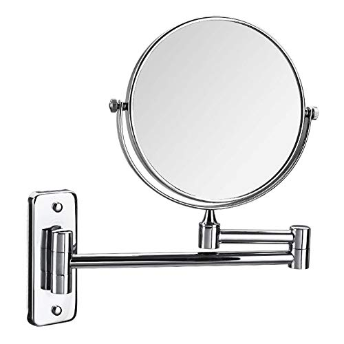 Miroir/Miroir Mural Double Face Argenté/Miroir de Maquillage Rond Grossissant 3 Fois/Miroir de Maquillage Rabattable / 6 Pouces / 8 Pouces