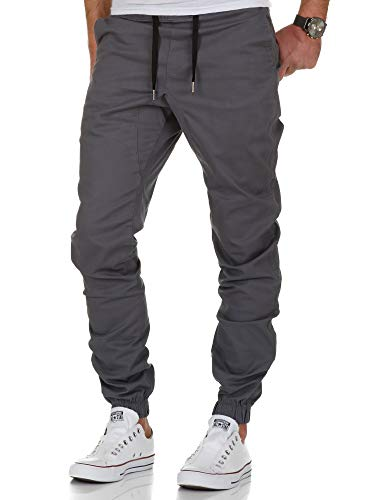 Amaci&Sons Herren Stretch Jogger Basic Chino Jeans Hose Cargo 7002 Dunkelgrau W38