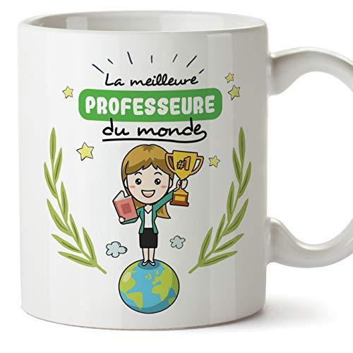 MUGFFINS (Taza en francés) Tazas Originales de café y Desayuno del Profesor para Dar a los Trabajadores Profesionales - El Mejor Profesor del Mundo - Cerámica 350 ml
