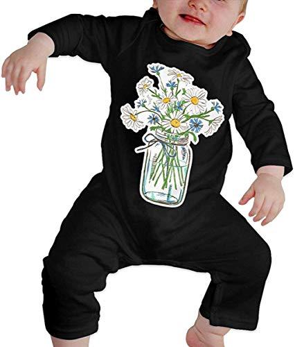 Flor de Margarita Unisex en Tarro de Vidrio Bebé recién Nacido 6-24 Meses Ropa de Escalada para bebés Ropa de Manga Larga para bebés Monos Negros Monos para bebés Mameluco de bebé