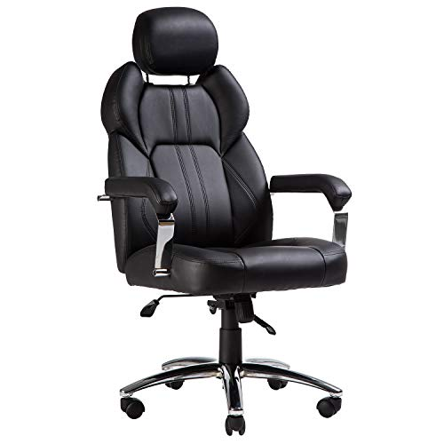 TOPSKY Office Chair Executive Large Leather Chair with Adjustable Headrest High Back (Black)