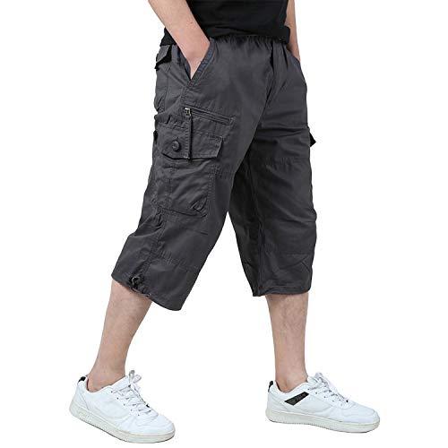 KEFITEVD Männer Shorts Kurz Hose Herren Cargo Taschen Stoffhose 3/4 Lang Trekkinghose Militär Shorts Strandhose Ausflug Reisen Grau 36 (Etikett: 3XL)