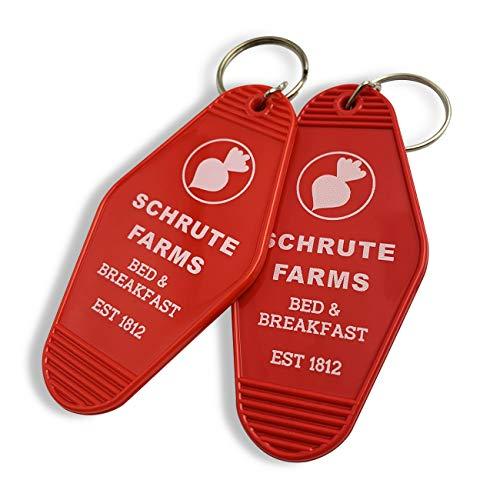 XGALBLA Vintage Key Tag Hotel Motel Keychain(2 Pcs Red Schrute Farms)