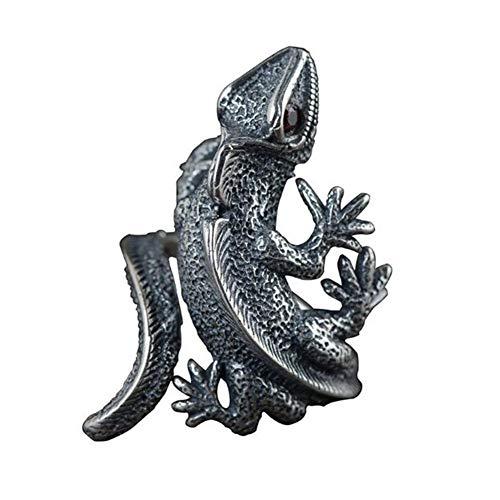 Zidao Einstellbare Eidechse Ring, Männer Und Frauen Mode Gecko Ring Schmuck Geschenk Der Größe Veränderbar Matt Schwarz,Silber