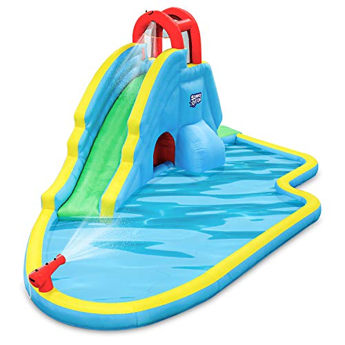 Deluxe Inflatable Water Slide Park – Heavy-Duty Nylon for Outdoor Fun - Climbing Wall, Slide, &...