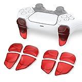 PlayVital 2 Pares de Gatillo Extensor para PS5 Control Extensores de Disparo Mejora del Juego Gatillos Bumper Trigger para Playstation 5 Mando Grips Extender Botón para PS5-Transparente Rojo