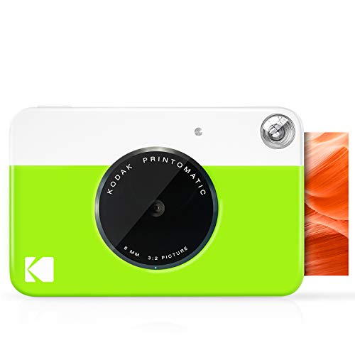 Kodak PRINTOMATIC Digitale Sofortdruckkamera, Vollfarbabzüge auf Zink 2x3 Fotopapier mit Selbstklebender Rückseite Drucken Sie Erinnerungen Sofort (Neongrün)