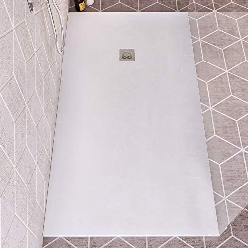 Plato de ducha de resina fabricado en Francia, ligero, extraplano y antideslizante, 120 x 80 cm, color blanco – Válvula y rejilla incluidas
