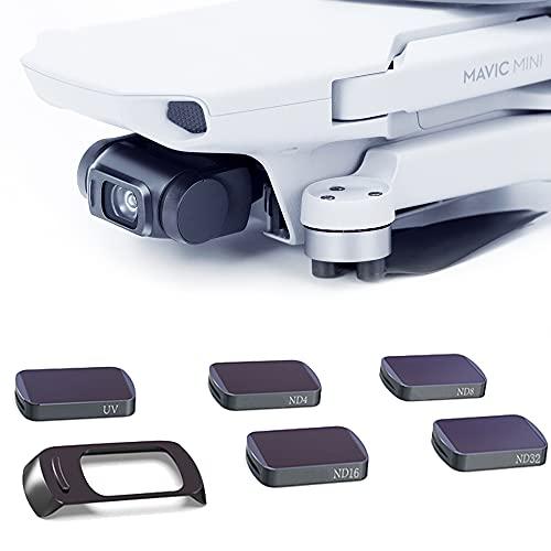 TMOM Filtro Obiettivo per DJI Mavic Mini 2 UV ND ND/PL Set di Filtri Filtro Obiettivo 4K HD per Fotocamera Drone (Set di UV ND4 ND8 ND16 ND32)